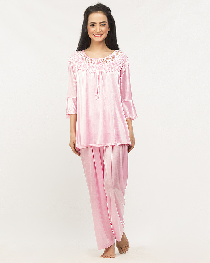 Floral Satin Silk Short Nighty Night Suit Sleeping Suit With Pajama for  Women – Light Pink 88fd22010